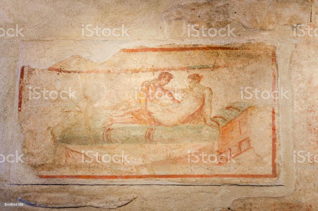 Ancient Roman fresco in Pompeii ruins, Italy. - foto stock