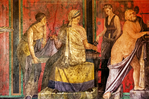 Ancient Roman fresco in Pompeii showing a detail of the mystery cult of Dionysus. Pompeii destroyed by the eruption of Vesuvius in 79 BC