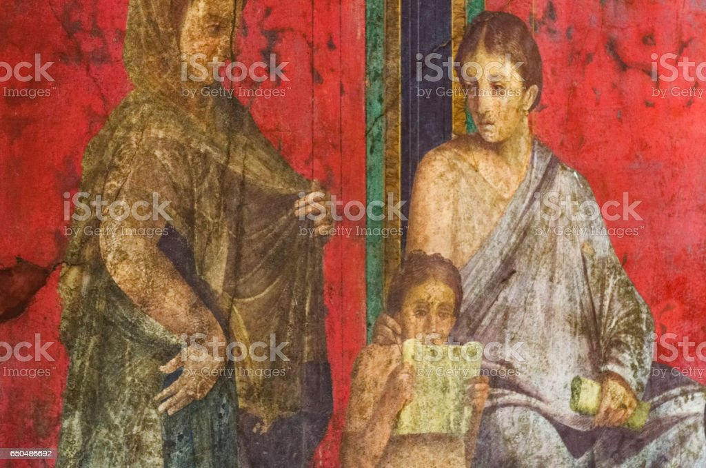 Ancient Roman fresco in Pompeii showing a detail of the mystery cult of Dionysus stock photo