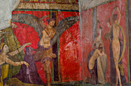 istock Ancient Roman fresco in Pompeii showing a detail of the mystery cult of Dionysus 860524946