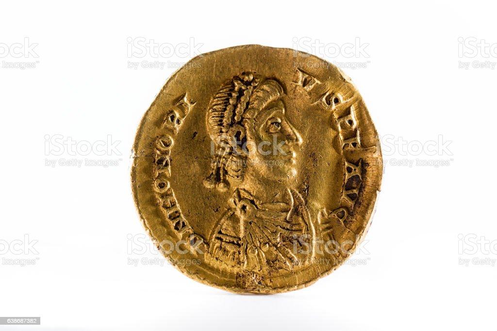 Ancient Roman gold coin stock photo