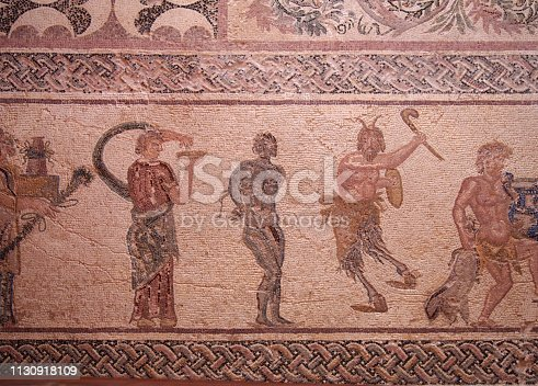 ancient roman house floor mosaic showing part of the triumph of Dionysus story in kato park paphos cyprus