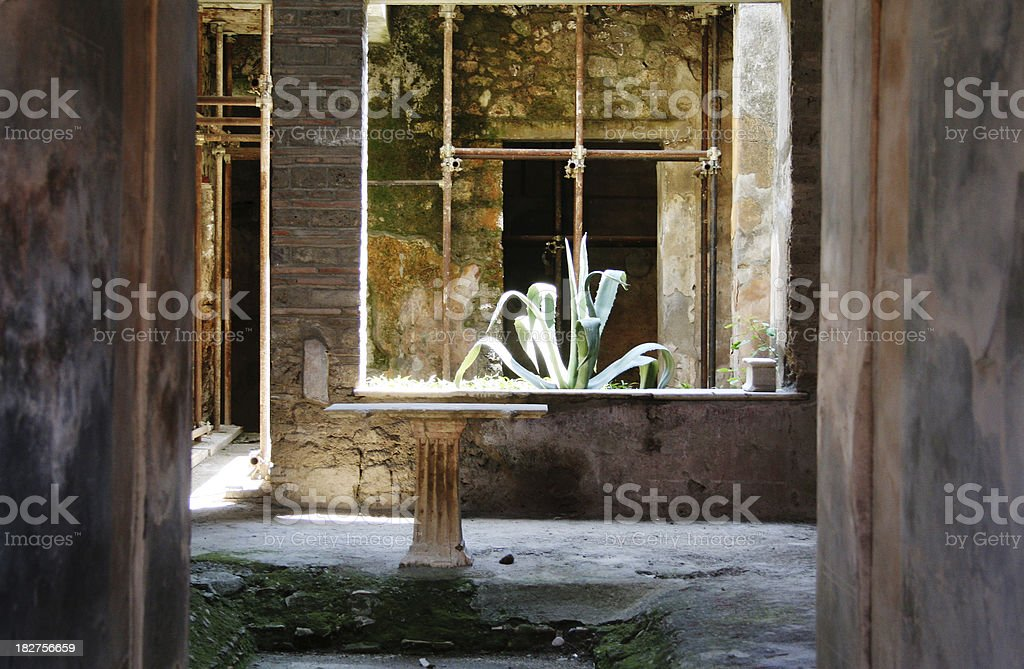 Ancient Roman House in Pompeii Town stock photo