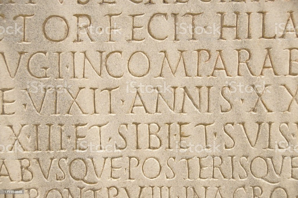 Ancient Roman Lettering stock photo