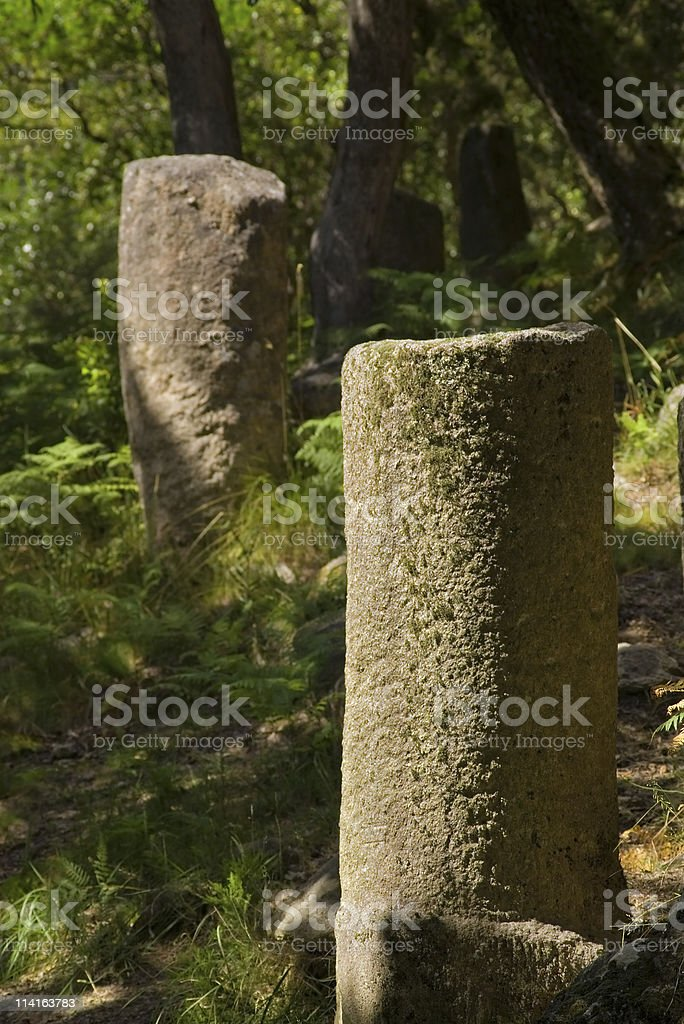 Ancient roman mile markers royalty-free stock photo