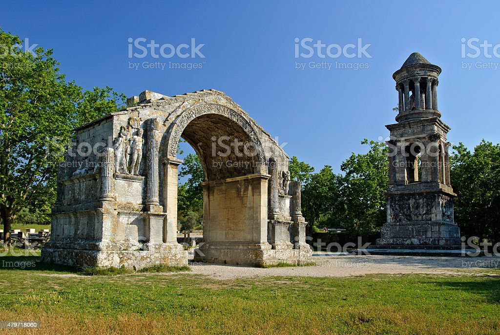 Ancient Roman Monuments of Glanum, Provence, France stock photo