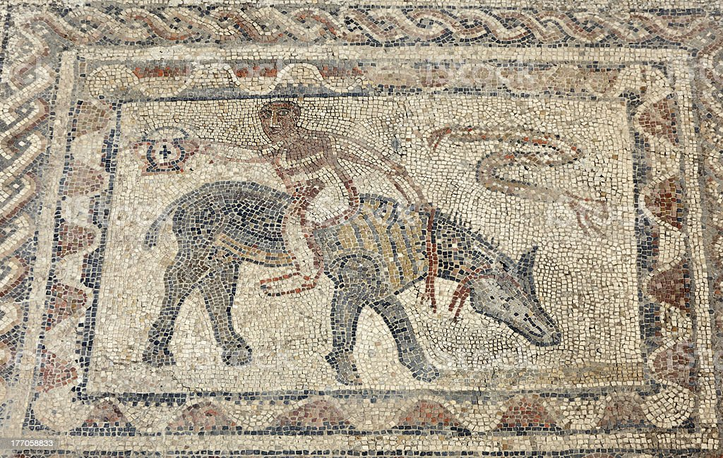 Ancient Roman mosaic in Morocco royalty-free stock photo