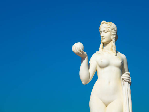 Ancient Roman of Greek goddess marble statue, with copy space stock photo