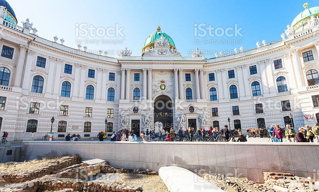 ancient Roman outpost on Michaelerplatz in Vienna stock photo