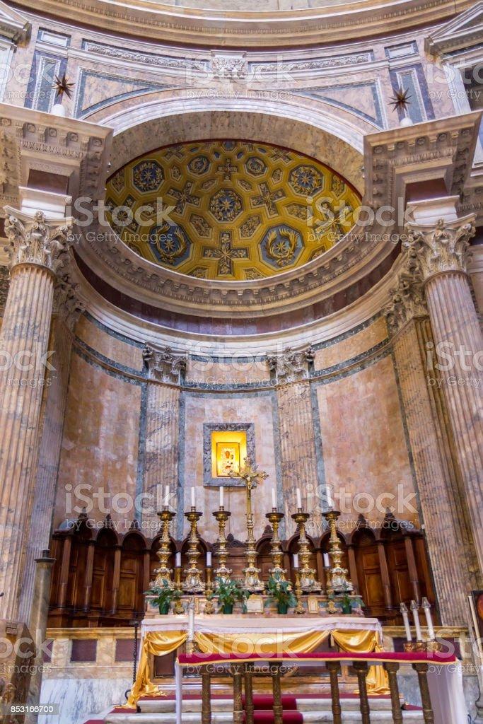 Ancient roman pantheon temple, interior altar stock photo