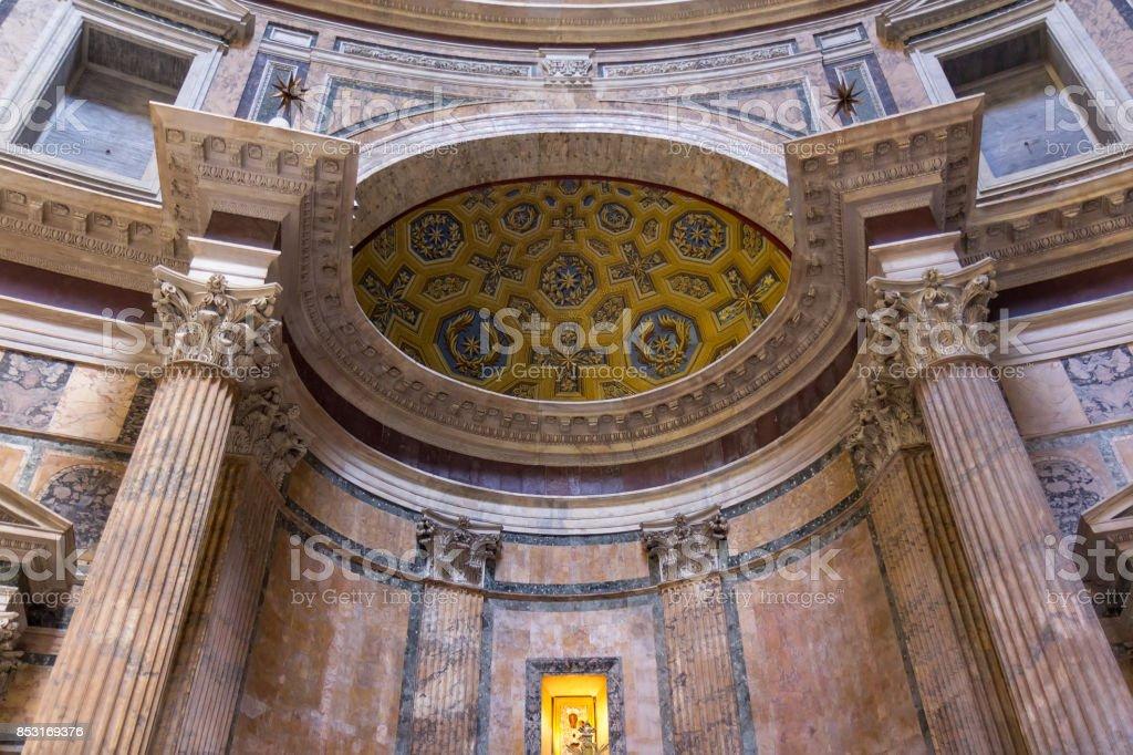 Ancient roman pantheon temple, interior stock photo