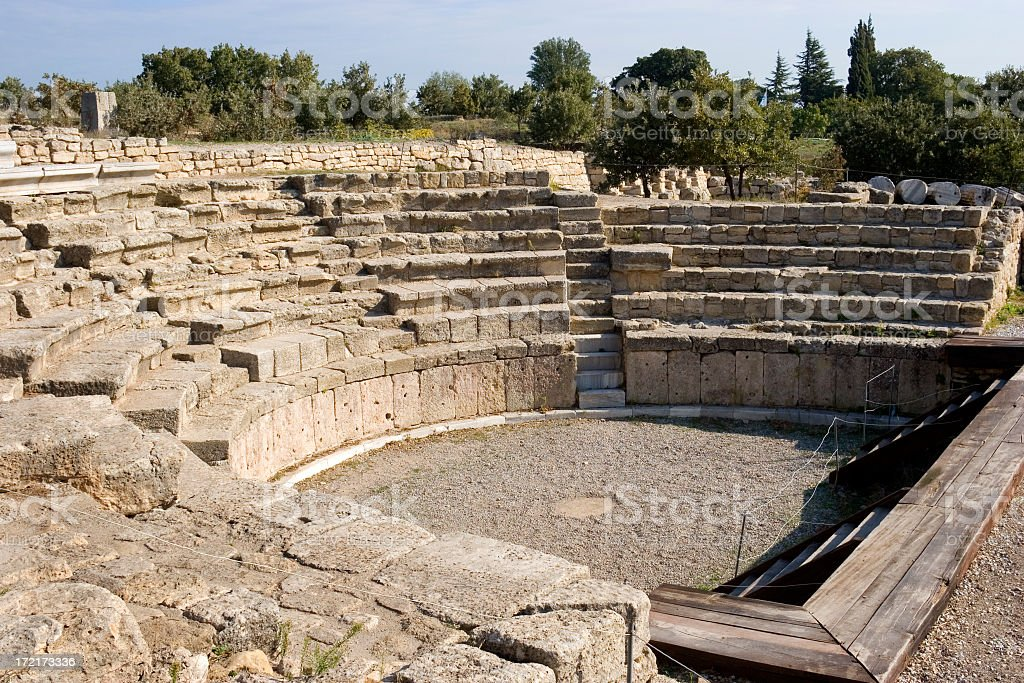 Ancient Roman rock amphitheater in Troy stock photo