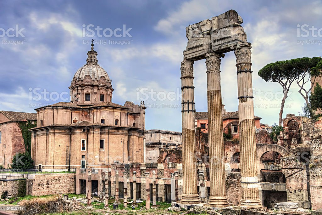 Ancient roman ruins at the Fori Imperiali, Rome stock photo