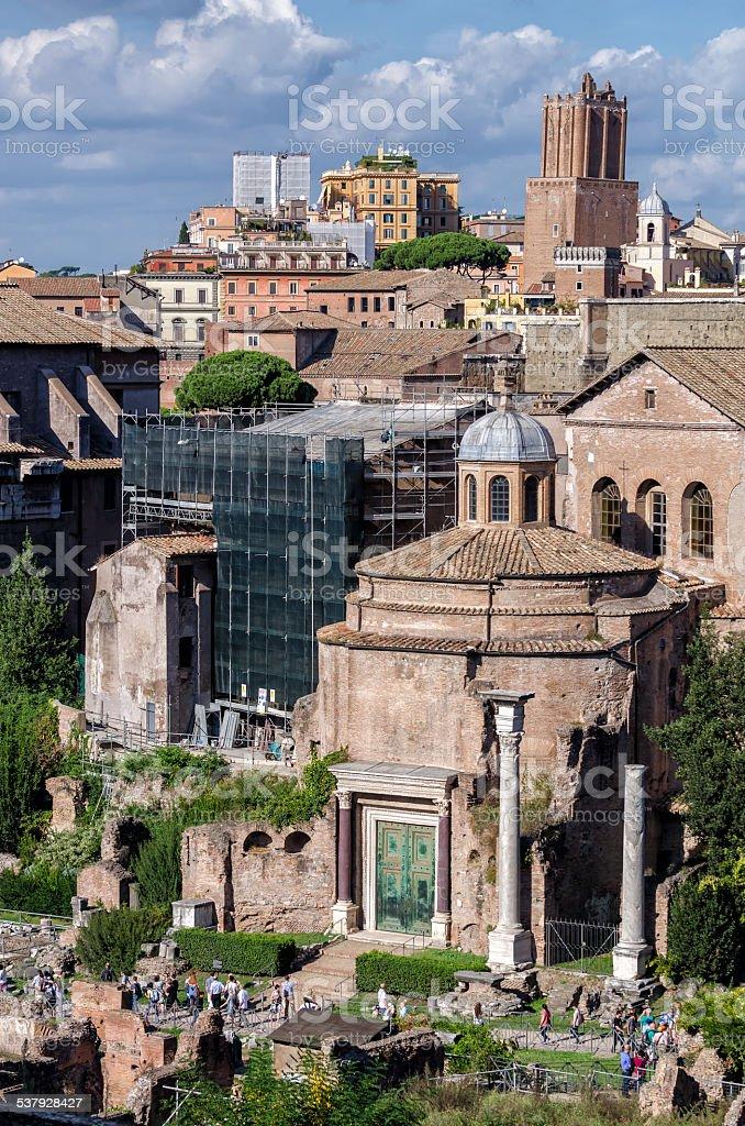 Ancient roman ruins at the Fori Imperiali, Rome stock photo