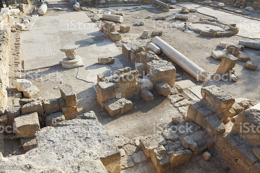 ancient roman ruins in Paphos archaeological site Cyprus royalty-free stock photo
