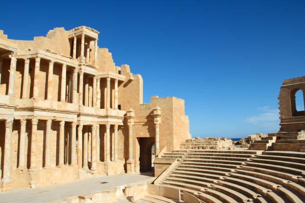 Ancient Roman ruins of Sabratha stock photo