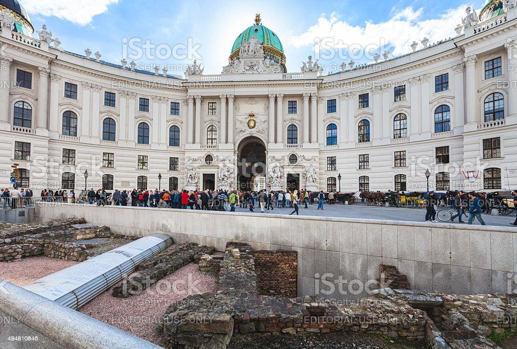 ancient Roman ruins on Michaelerplatz in Vienna stock photo