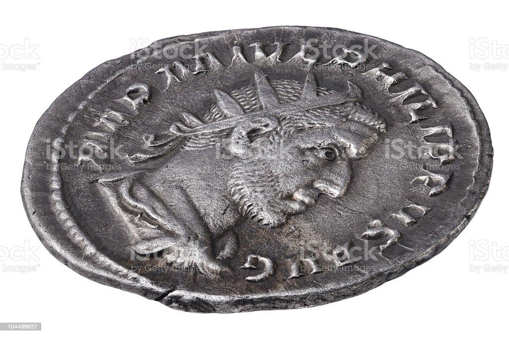 Ancient Roman silver coin stock photo