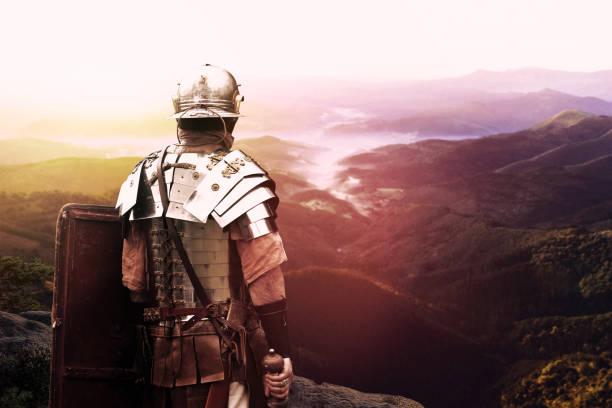 ancient Roman soldier stock photo
