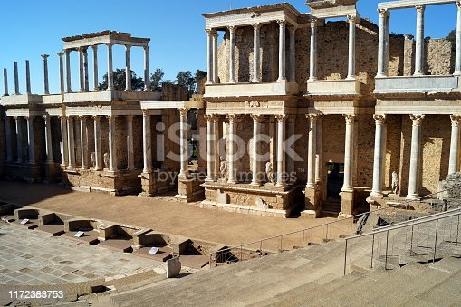 Ancient Roman theater decorated with Corinthian style columns in  Merida, Spain
