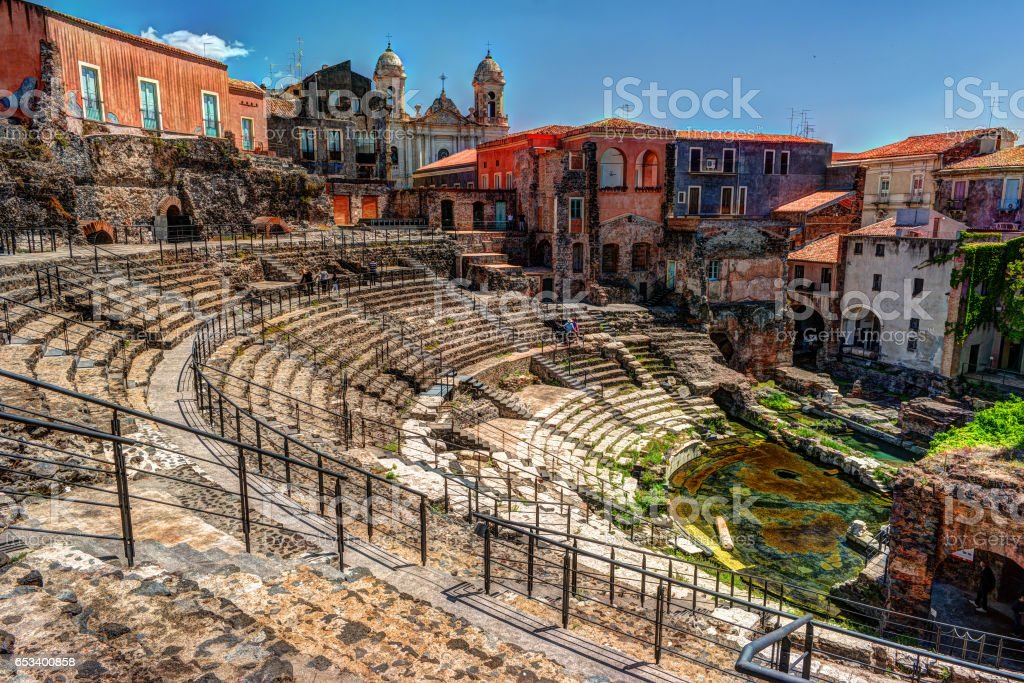 Ancient Roman theater in Catania stock photo