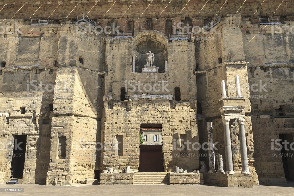 Ancient Roman theater in Orange, Southern France stock photo