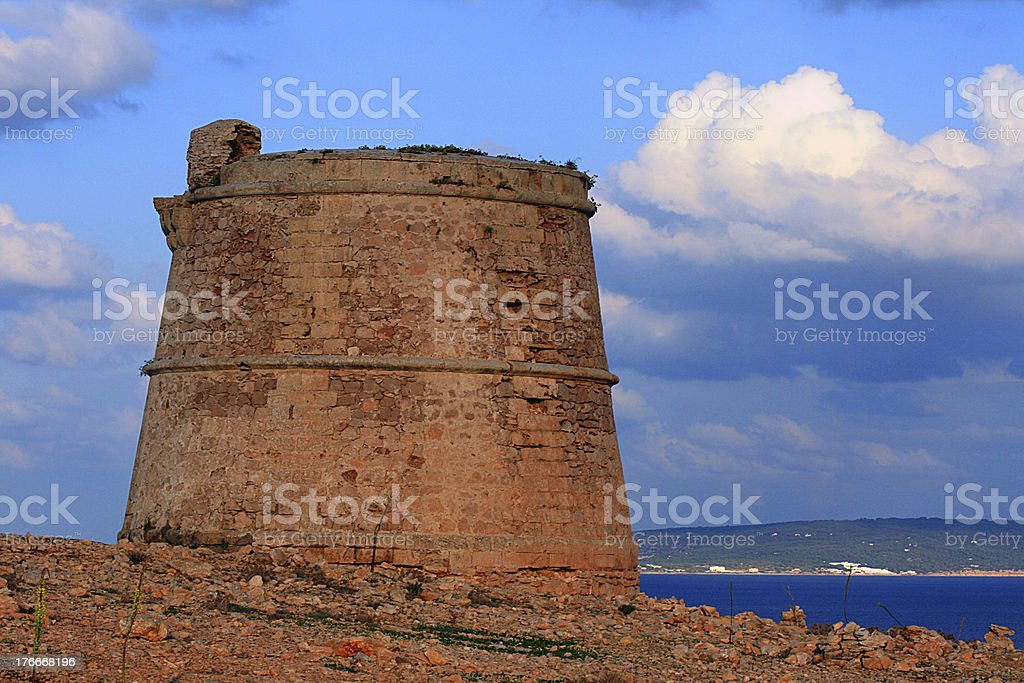 ancient roman tower in Formentera Spain royalty-free stock photo