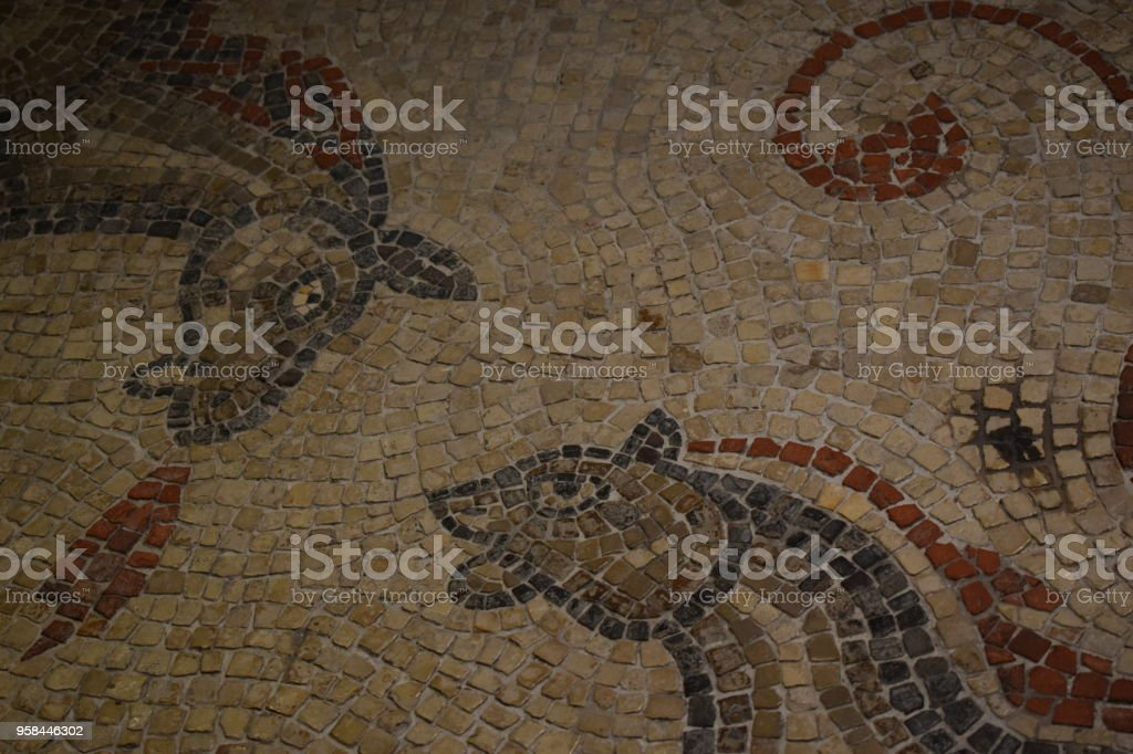 Ancient Roman two horse mosaic stock photo