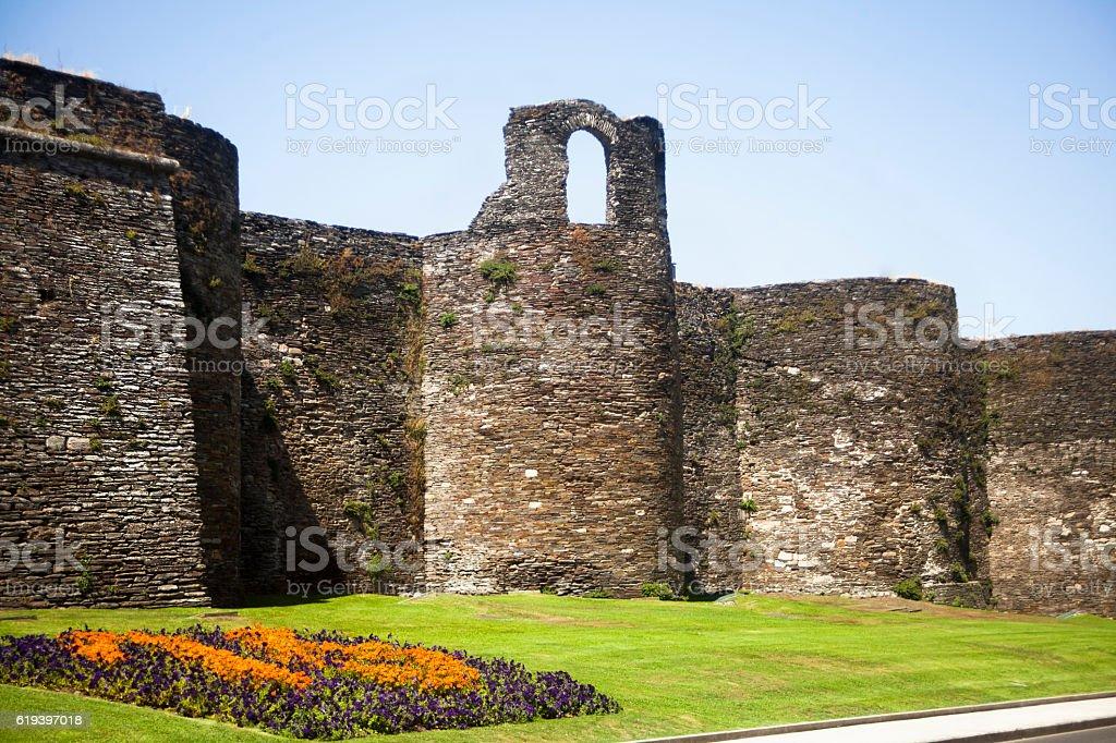 Ancient roman wall in Lugo, Galicia, Spain. stock photo