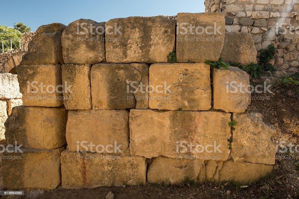 Ancient roman wall stock photo