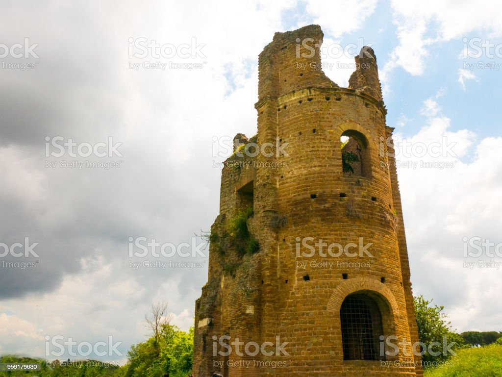 ancient Roman walls near the ancient Appia Rome, Italy stock photo