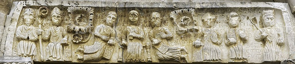 Ancient romanesque bas relief royalty-free stock photo