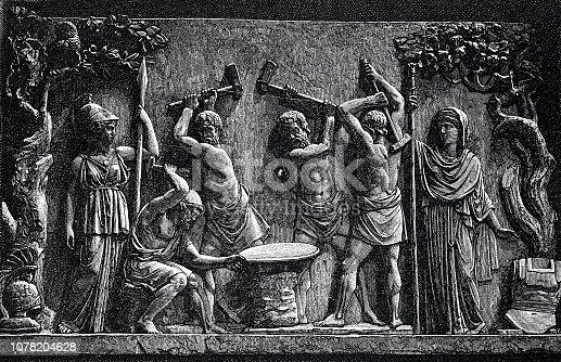 istock Ancient rome, Hephaistos blacksmith's shop 1078204628