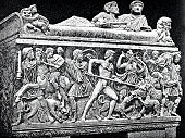 Ancient rome, hunting a boar, relief on a sarcophagus