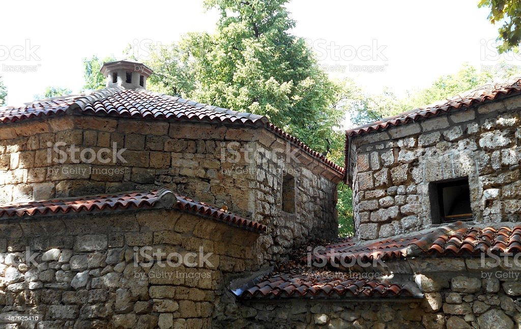 Ancient roofs and buildings stock photo