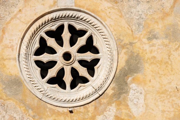 ancient rose window - porto venere italy - rose window stock pictures, royalty-free photos & images