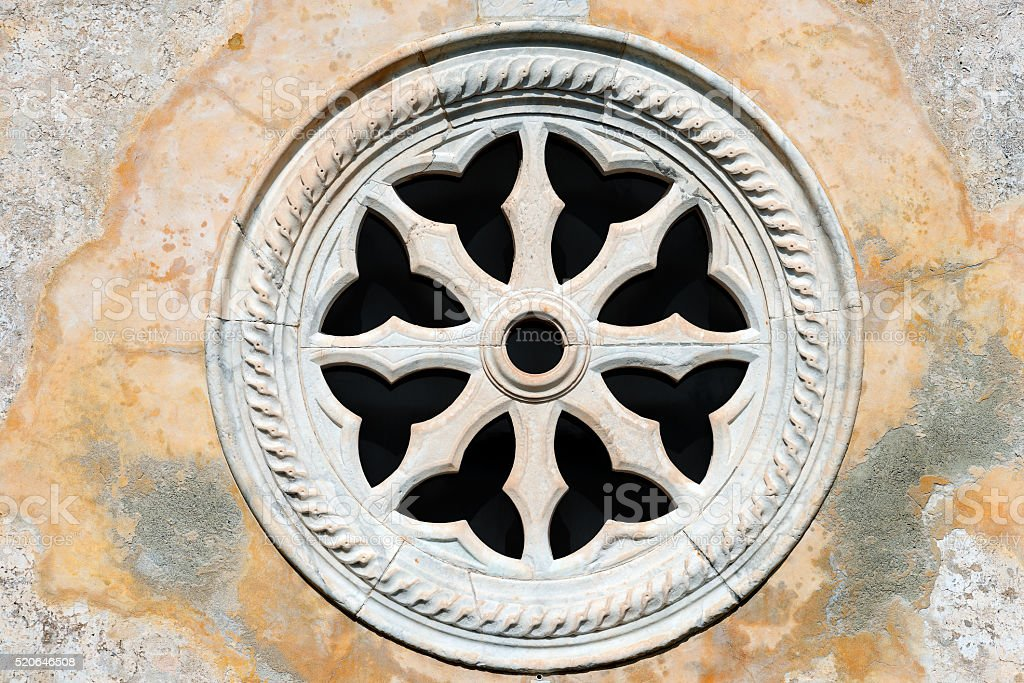 Ancient Rose Window - Portovenere Italy stock photo