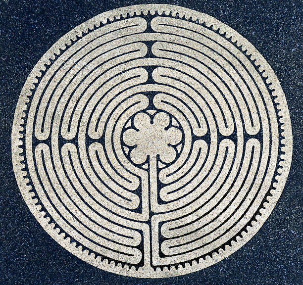 Ancient Round Labyrinth Symbol stock photo