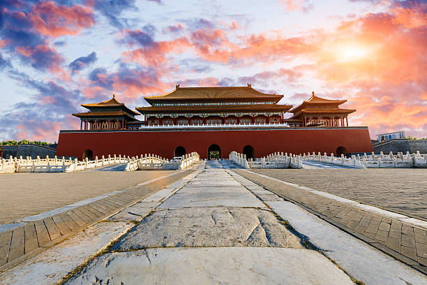 ancient royal palaces of the Forbidden City in Beijing, China stock photo