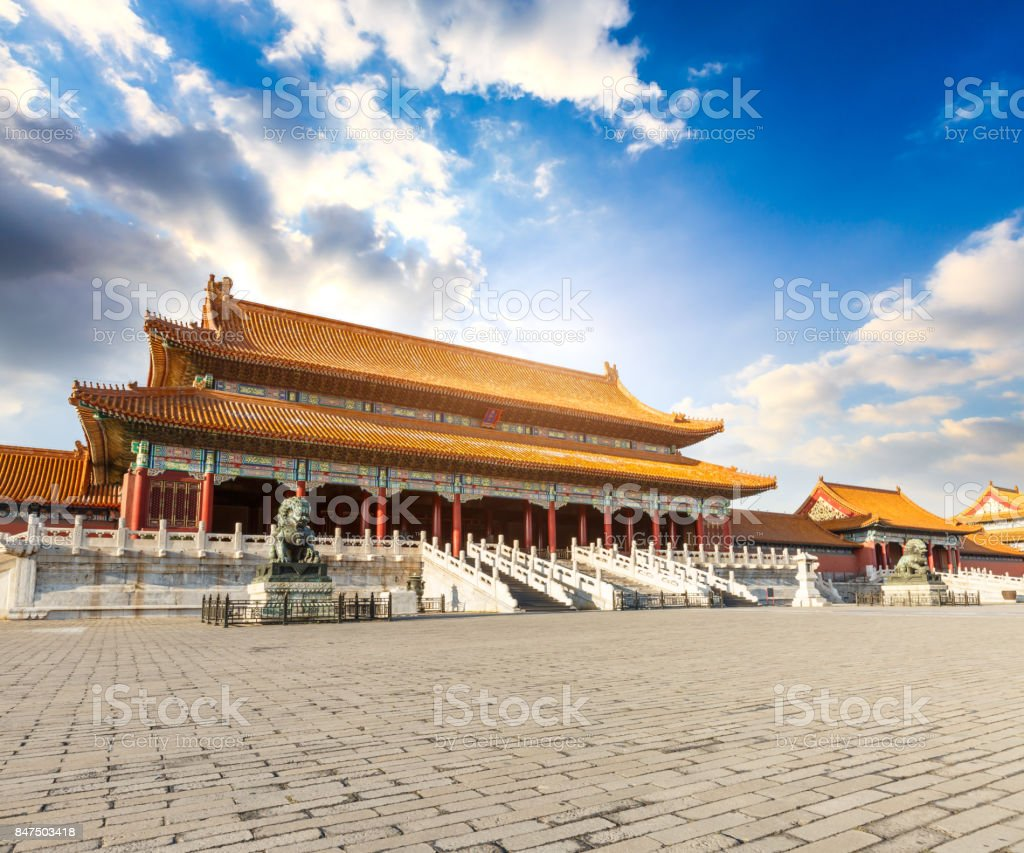 ancient royal palaces of the Forbidden City in Beijing,China stock photo