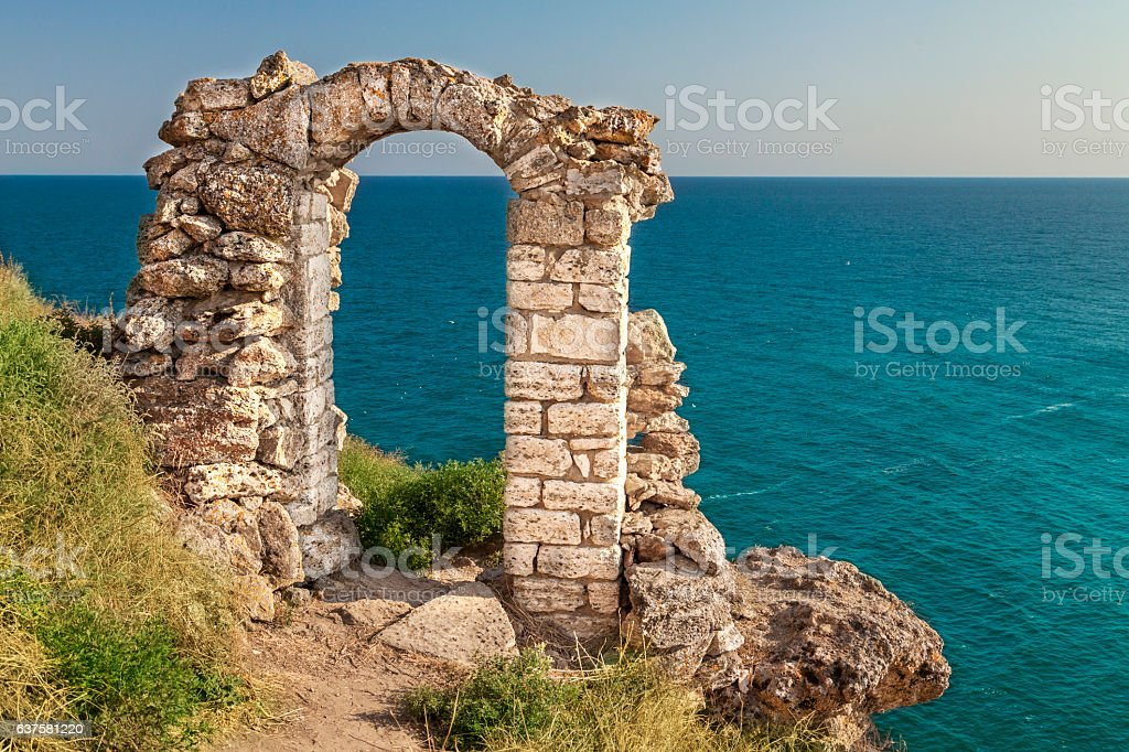 Ancient ruin at Kaliakra stock photo