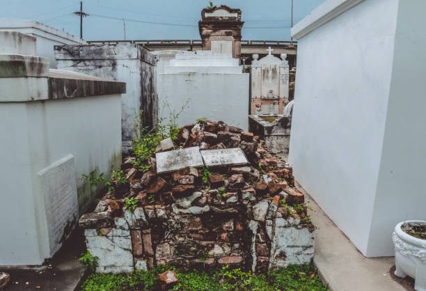Ancient ruined burial in St. Louis cemetery, New Orleans, Louisiana, USA stock photo