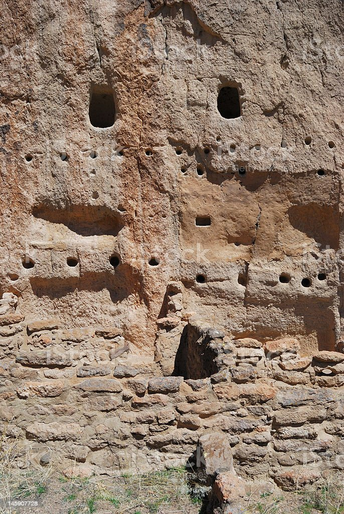 Ancient ruins at Bandelier National Monument stock photo