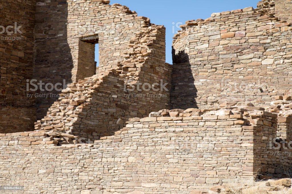 Ancient ruins at Chaco Canyon National Historic Park in New Mexico stock photo