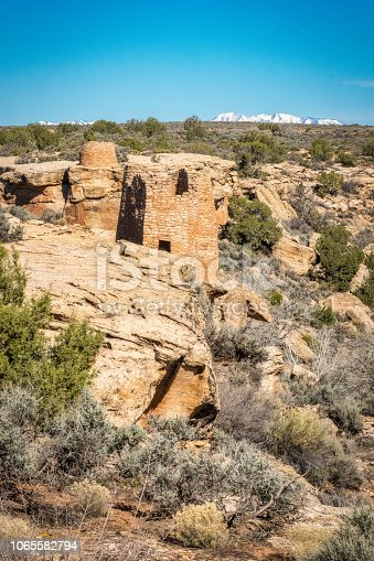 Hovenweep National Monument contains six separate prehistoric ruined villages dating from the Pueblo period of the mid thirteenth century.