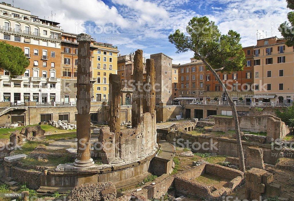 Ancient ruins at Largo Argentina. Rome. Italy royalty-free stock photo