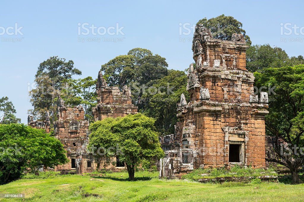Ancient ruins in Angkor Wat Heritage site stock photo