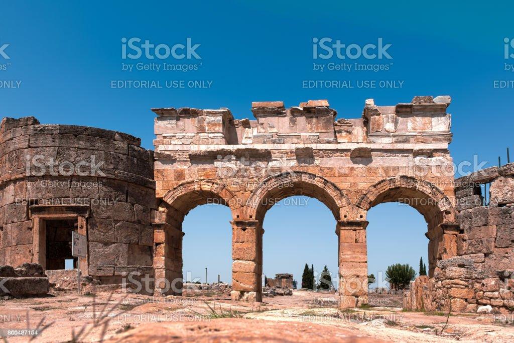 Ancient ruins in Hierapolis, Pamukkale, stock photo