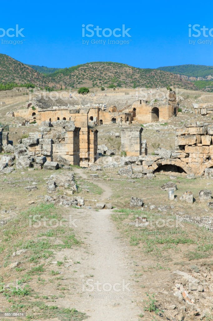 Ancient ruins in Hierapolis, Pamukkale, Turkey. royalty-free stock photo