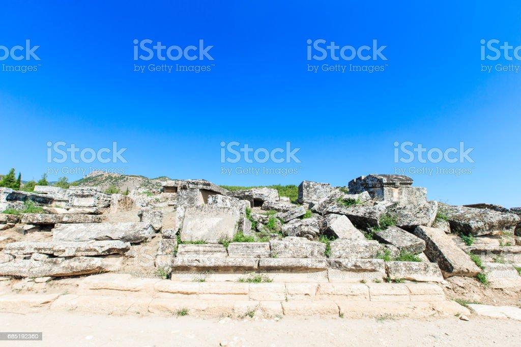 Ancient ruins in Hierapolis, Pamukkale, Turkey. royalty-free stock photo